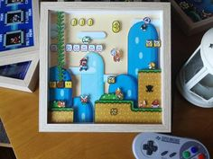 Super Mario World Diorama-Shadow box-Pixel Art-Super Nintendo-Super Famicom-Shadow Box – Game Room İdeas 2020 Super Mario World, Super Mario Room, Bolo Super Mario, Super Mario Kart, Super Nintendo, Nintendo Room, Pixel Art, Yoshi, Diy Shadow Box