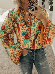 Coolila Floral 1 White Orange Fuchsia Yellow Blue Women Tops V Neck Vintage Cotton-Blend Long Sleeve Floral-Print Daily Tops – coolila Bohemian Blouses, Bohemian Tops, Floral Print Shirt, Floral Prints, Camisa Hippie, Estilo Hippy, Oversized Blouse, Sexy Shirts, Ladies Shirts