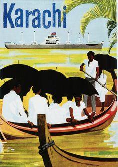 """Vintage """"Travel to Karachi """" tourism poster. Tourism Poster, Poster S, Poster Prints, Travel Ads, Asia Travel, Travel Illustration, Vintage Travel Posters, Rare Photos, Retro"""