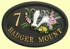 Split layout on an oval sign using the Badgers Head design. All of the text can be personalised. Polymer Resin, House Signs, Badger, Animal Design, House Painting, Layout, Hand Painted, Flowers, Page Layout