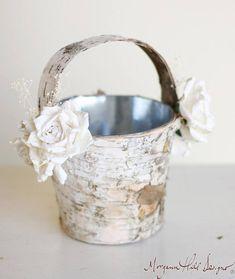 Flower Girl Basket Birch Wood Rustic Outdoor Elegant Wedding  (140095)