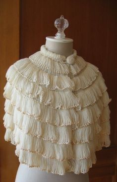 """Hairpin lace crochet cape. Probably from the """"Canterbury Feather Cape"""" pattern c1935."""