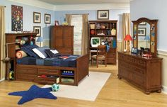 American Spirit Casual Cherry 4pc Kids Bedroom Set w/Twin Bookcase Bed