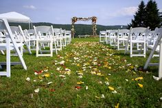 Rose petals lining the walkway... A simple and beautiful addition. Photo Credit: Kendal J. Bush