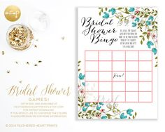 Instant Download DIGITAL File Hand Painted Floral Bridal Shower Games by Feathered Heart Prints Wedding Shower Bingo, Brides Vows Mad Libs, What's In your Purse Game, Famous Couples Matching Game / Celebrity Couples Game, and That's what he said / That's what she said game.