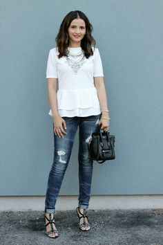 Fashionable Outfits, Fashion Outfits, Celine Nano Luggage, White Peplum Tops, Clothing Blogs, Blogger Style, Distressed Jeans, Squad, Community