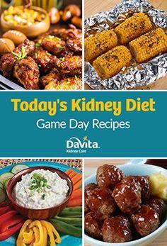 Game Day Recipes by Davita - Davita Recipes, Kidney Recipes, Diet Recipes, Healthy Recipes, Game Recipes, Kidney Foods, Kidney Beans, Low Potassium Recipes, High Potassium