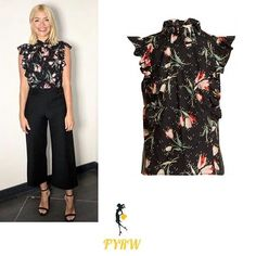 Holly Willoughby This Morning outfit black floral print top black trousers black sandals April 2018 #HollyWilloughby #ThisMorning #style #workweargoals Photo: Angie Smith