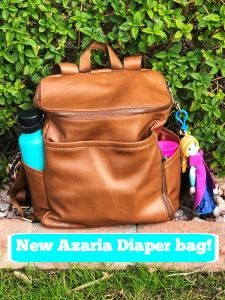 New Azaria diaper bag. Company started in 2016 and makes these gorgeous faux leather backpacks. Both inside and outside are wipeable, water and stain resistant.