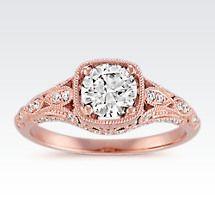 Diamond Vintage Engagement Ring with Milgrain Detailing in 14k Rose Gold Image