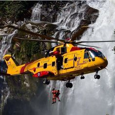 A Cormorant helicopter conducts hoist training in front of Chattertox Falls, located at . Coast Guard Helicopter, Military Helicopter, Military Aircraft, Coast Guard Rescue, Us Coast Guard, Aigle Animal, Canadian Coast Guard, Helicopter Private, Life Flight