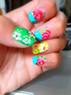 Ideas Fails Design Spring Bright Colors Flower Power For 2019 Spring Nail Art, Nail Designs Spring, Cute Nail Designs, Spring Nails, Summer Nails, Nail Manicure, Diy Nails, Nail Polish, Flower Power