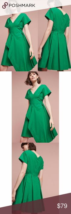 NWT ANTHROPOLOGIE Maeve Seamed Poplin Dress Brand new with tags (NWT) ANTHROPOLOGIE Maeve Seamed Poplin Dress. Green color.  Fit-and-flare silhouette Asymmetrical hem Side pockets Back zip Dry clean Anthropologie Dresses