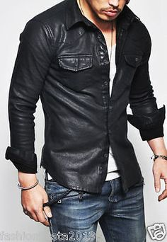 Tops :: Shirts :: Masculine Sexy Stretchy Leather Button Down-Shirt 109 - Mens Fashion Clothing For An Attractive Guy Look Gentleman Mode, Gentleman Style, Biker Leather, Leather Men, Mens Leather Shirt, Lambskin Leather, Leather Jackets, Real Leather, Black Leather