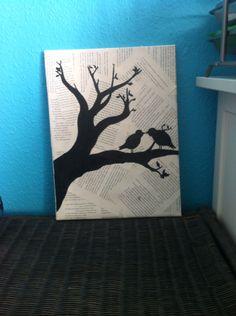 Zwei Vögel auf dem Baum ( Buchseiten )