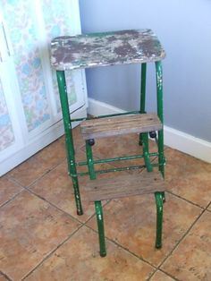 Vintage Yellow Metal Cosco Step Stool Single Step Folding