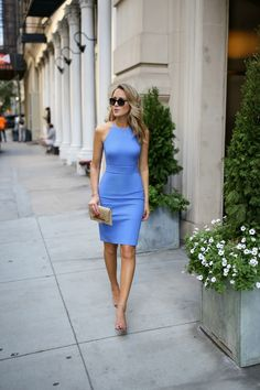Banana Republic periwinkle blue day to night sheath dress with nude sandals and gold snakeskin clutch