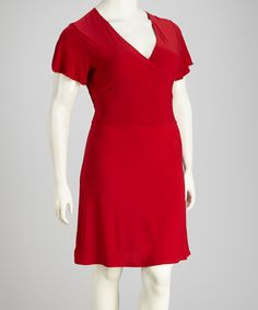 Take a look at this Dark Red Surplice Plus-Size Dress by Star Vixen on #zulily today!
