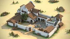 Mexico Hacienda Design Test (done in MagicaVoxel) : IndieDev - minecraft Plans Minecraft, Minecraft Blueprints, Architecture Minecraft, Minecraft Buildings, Big Minecraft Houses, Hotel Architecture, Hacienda Style Homes, Spanish Style Homes, Minecraft Decorations