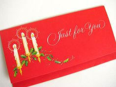 Holiday Christmas Money Card Vintage 1980s by bythewayside on Etsy, $3.00