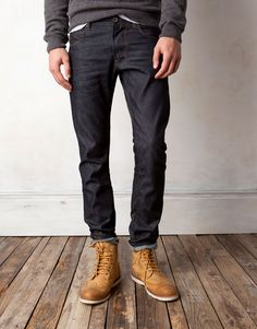 Raw denim and boots.