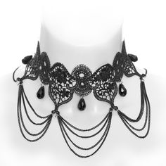 Gothic choker necklace, black lace with chain detail and black drop beads, by Queen of Darkness.