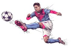 """Illustrations for the australian toy company """"Funtastic"""", and their product """"Foot Bubbles. Lionel Messi"""""""