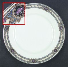 """245"" china pattern with blue scroll trim & violet purple flowers from Chas Field Haviland."