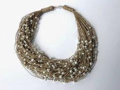 MT Ожерелья из льна ~ Ожерелья в льняной пряжи: ожерелий Другие авторы