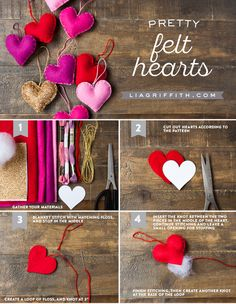 Discover gorgeous Valentine crafts to make at home and have your loved one swooning at your handcrafted talents! Todays pretty felt hearts by Lia Griffith.