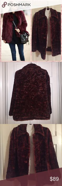 "Vintage BB Dakota Faux Fur Jacket. Size M Vintage BB Dakota Faux Fur Jacket. Size Medium. Totally on trend for fall this IS the color for Fall 2016. Burgundy/wine color This jacket is fully lined and has no tears or stains. It does have buttonholes but does not appear to have ever had buttons. Easy fix and just add the buttons you prefer.  Bust:  19"" measured flat. Length: 26 inches sleeve length from shoulder to hem: 24 inches. BB Dakota Jackets & Coats"