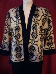 Cardigan Sweater Womens Vintage Large L Gold Black & White Made in USA   Career #BedfordFairLifestyles #Cardigan