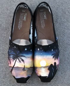 Romantic sunset at the beach themed handpainted custom TOMS shoes. Customized commissions available at www.etsy.com/shop/waffleink