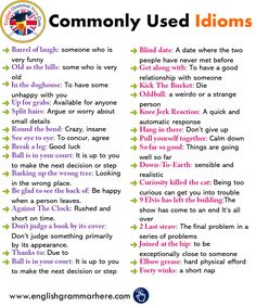 English Idioms, Definitions and Examples - English Grammar Here Teaching English Grammar, English Writing Skills, English Vocabulary Words, Learn English Words, English Language Learning, Vocabulary List, Academic Vocabulary, German Language, Japanese Language