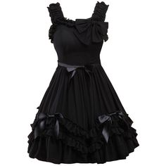 Partiss Women's Black Straps Neck Bow Chiffon Sweet Love Lolita Dress ($65) ❤ liked on Polyvore featuring dresses, lolita, chiffon cocktail dress, chiffon dresses and bow neck dress