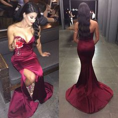 Sexy Sweetheart Burgundy Mermaid Prom Dresses 2016 Court Train Side Slit Satin Long Elegant Prom Dress Evening Party Gown