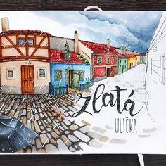 Продолжаю Прагу) Злата уличка. Гроза не помешала нашему знакомству. ⛈   Golden Lane. Prague. Storm didn't prevent our meeting)  #prague_sketchingtour, #prague, #travel, #traveljournal, #instatravel, #praha, #leuchtturm1917, #sketch, #sketchbook, #copic, #copicart, #copicmarker, #sketch, #illustration, #travelbook, #topcreator, #goldenlane