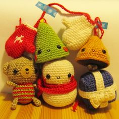 NEW Xmas Tree Ornaments  amigurumi crochet pattern by anapaulaoli, $4.00
