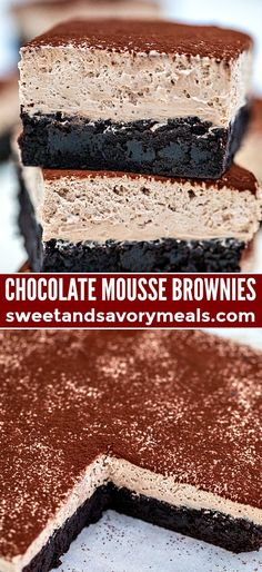 Mousse Brownies or Best Brownies EVER! Chocolate Mousse Brownies are creamy, indulgent and loaded with chocolate, making them the perfect dessert.Chocolate Mousse Brownies are creamy, indulgent and loaded with chocolate, making them the perfect dessert. Dessert Dips, Dessert Parfait, Smores Dessert, Mini Desserts, Fall Desserts, Just Desserts, Delicious Desserts, Yummy Food, No Bake Desserts