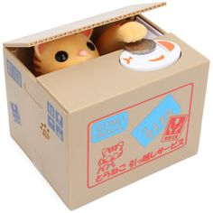 Kitty coin bank.  The kitty pops up, takes the money, & meows at you