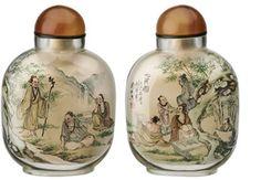 ガラス製竹林の七賢模様内画(うちえ)鼻煙壺