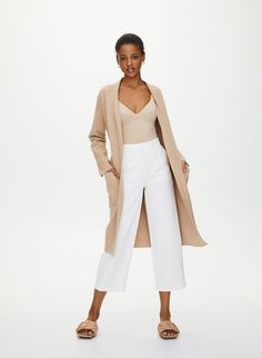 This is a robe-style cardigan with patch pockets and a removable belt. It's knit with LENZING™ ECOVERO™ — a wood-based fibre produced through a more sustainable process. Belted Cardigan, Sweater Cardigan, Long Cardigan, Wide Leg Cropped Pants, Summer Outfits Women, Bold Fashion, Summer Wardrobe, My Style, How To Wear