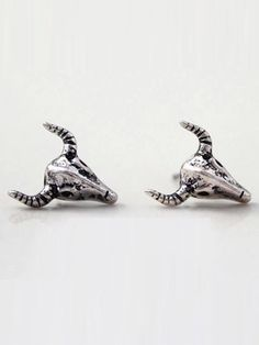 #VINTAGE #SILVER #BULL #STUD #EARRINGS
