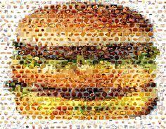 Love this Cheeseburger fast food mosaic!  Made up of small fast food photos!