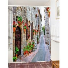 Brick House Alley Print Waterproof Shower Curtain - COLORMIX W71 INCH * L71 INCH