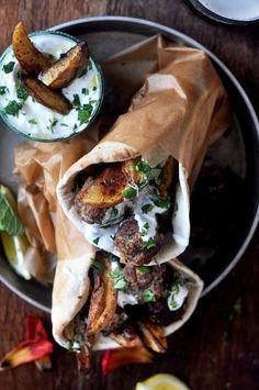 Lamb Meatball Pitas with Mint Tzatziki weekday dinner ideas # Lamb Recipes, Greek Recipes, Dinner Recipes, Cooking Recipes, Healthy Recipes, Healthy Nutrition, Yummy Recipes, Healthy Eating, Tzatziki