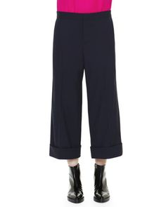 Cuffed Cropped Wide-Leg Trousers by Marni at Neiman Marcus.
