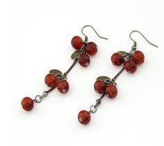 Bohemian Style Cherry Long Earrings Red i2948422