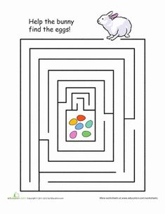 Easter First Grade Mazes Worksheets: Solve the Easter Egg Maze