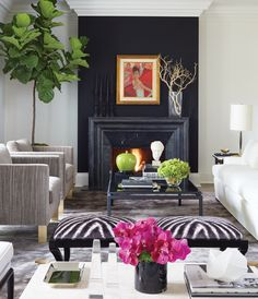 Fireplaces To Warm Up Your Home During The Colder Months In designer Sloan Mauran's living room, a black wall melds into the carved Irish limestone fireplace surround, giving this focal point more presence. Small Living Rooms, My Living Room, Living Room Designs, Living Room Decor, Dining Room, Interior Exterior, Best Interior, Interior Styling, Interior Design